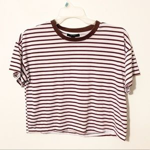 Forever21 brown striped basic cropped tee shirt